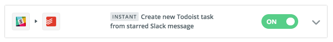 New task from starred Slack message - My second most used automation does much the same thing as the email one above. If I star a message in a Slack channel or DM it will be turned into a task in Todoist.