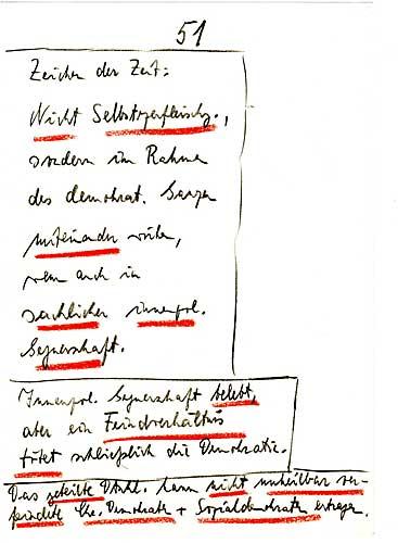 handschriftliches Redemanuskript