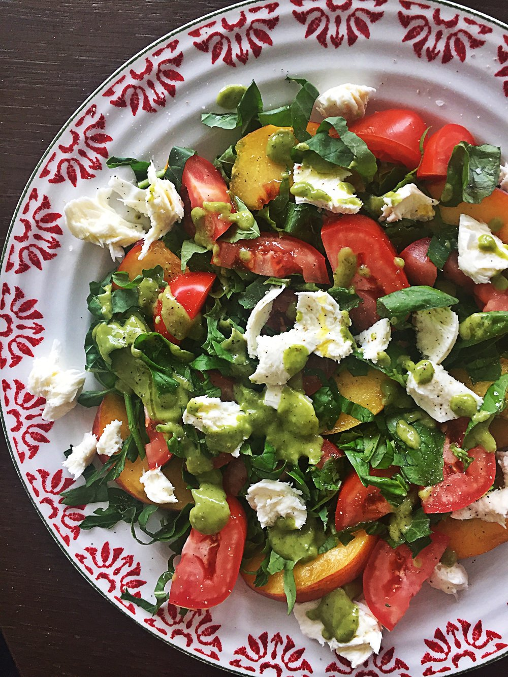 Caprese with green goddess dressing