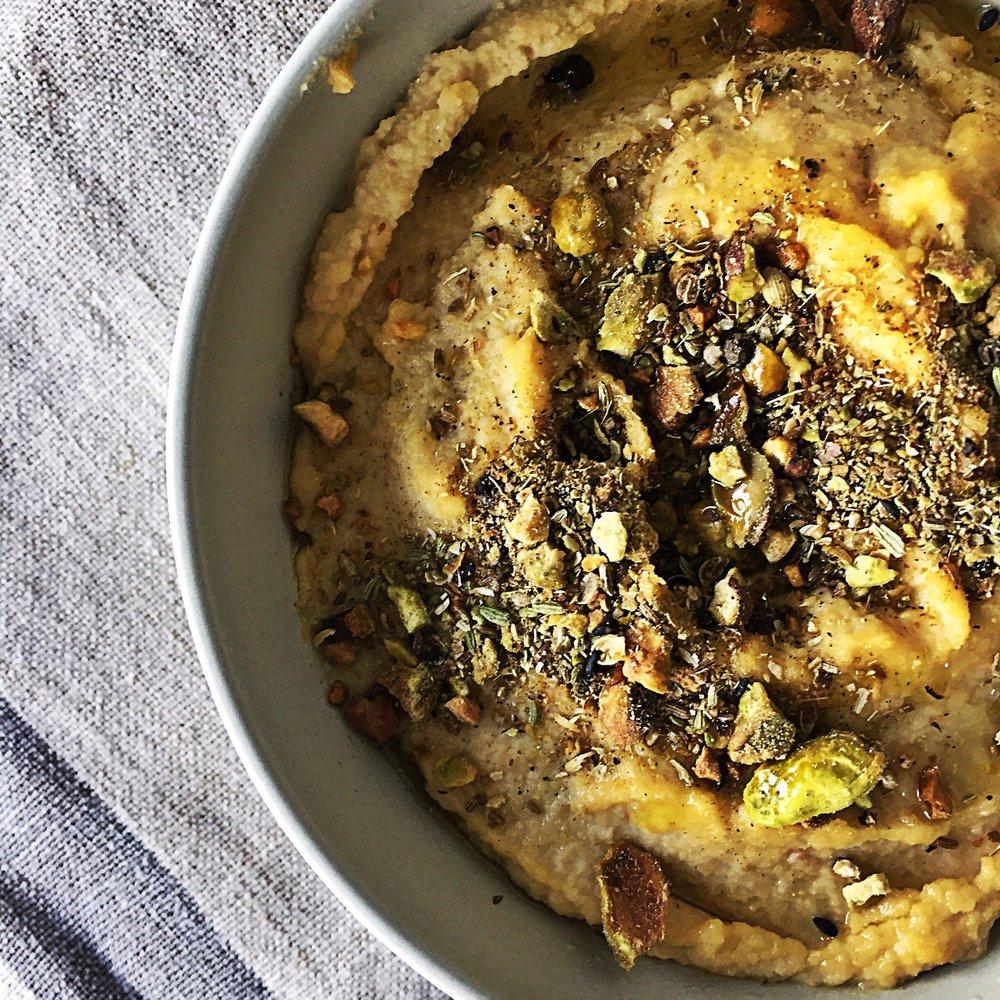 hummus with pistachio dukkah