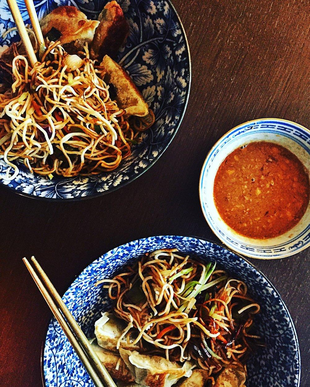 chow mein, dumplings & peanut butter sauce