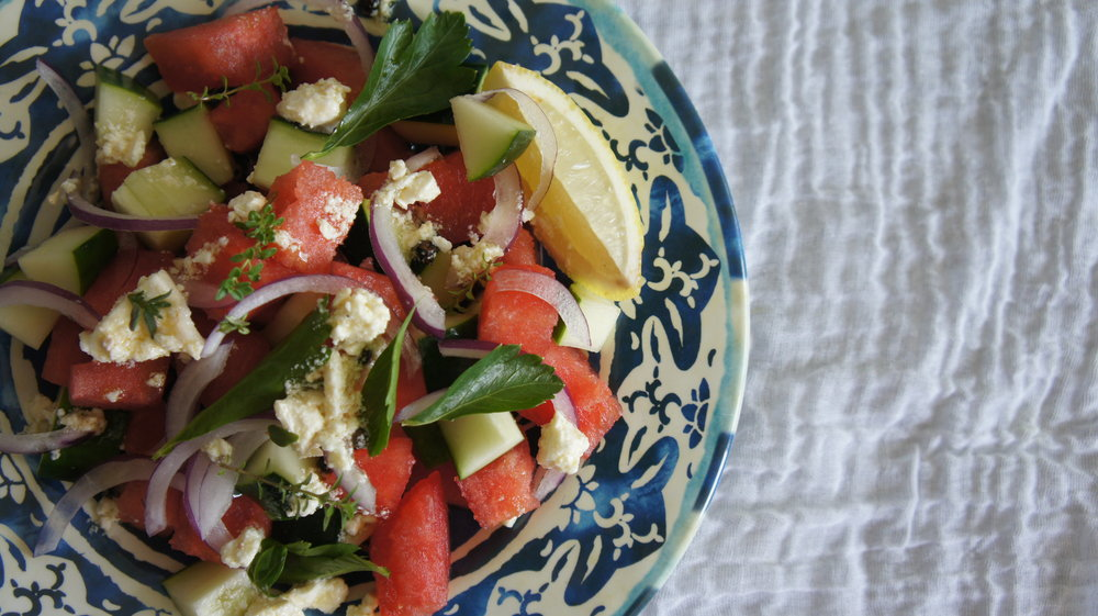 Watermelon & feta greek salad