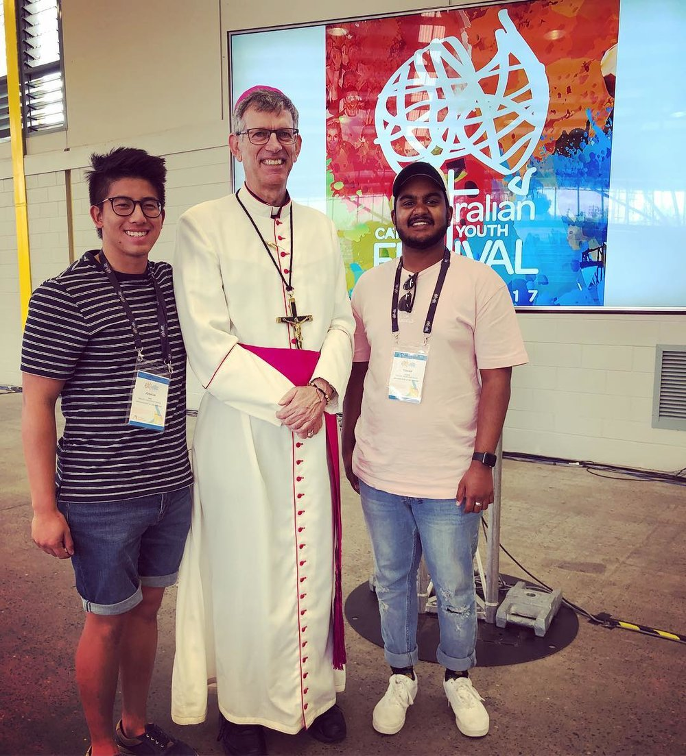 SJV Youth Leaders, Josh & Tish, with Bishop Mark Edwards OMI (ACYF 2017)