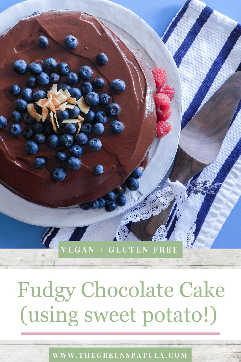 A decadently fudgy, plant-based cake made with chocolate and sweet potatoes. Topped with an equally delicious and rich chocolate frosting. Served with fresh berries and toasted coconut.