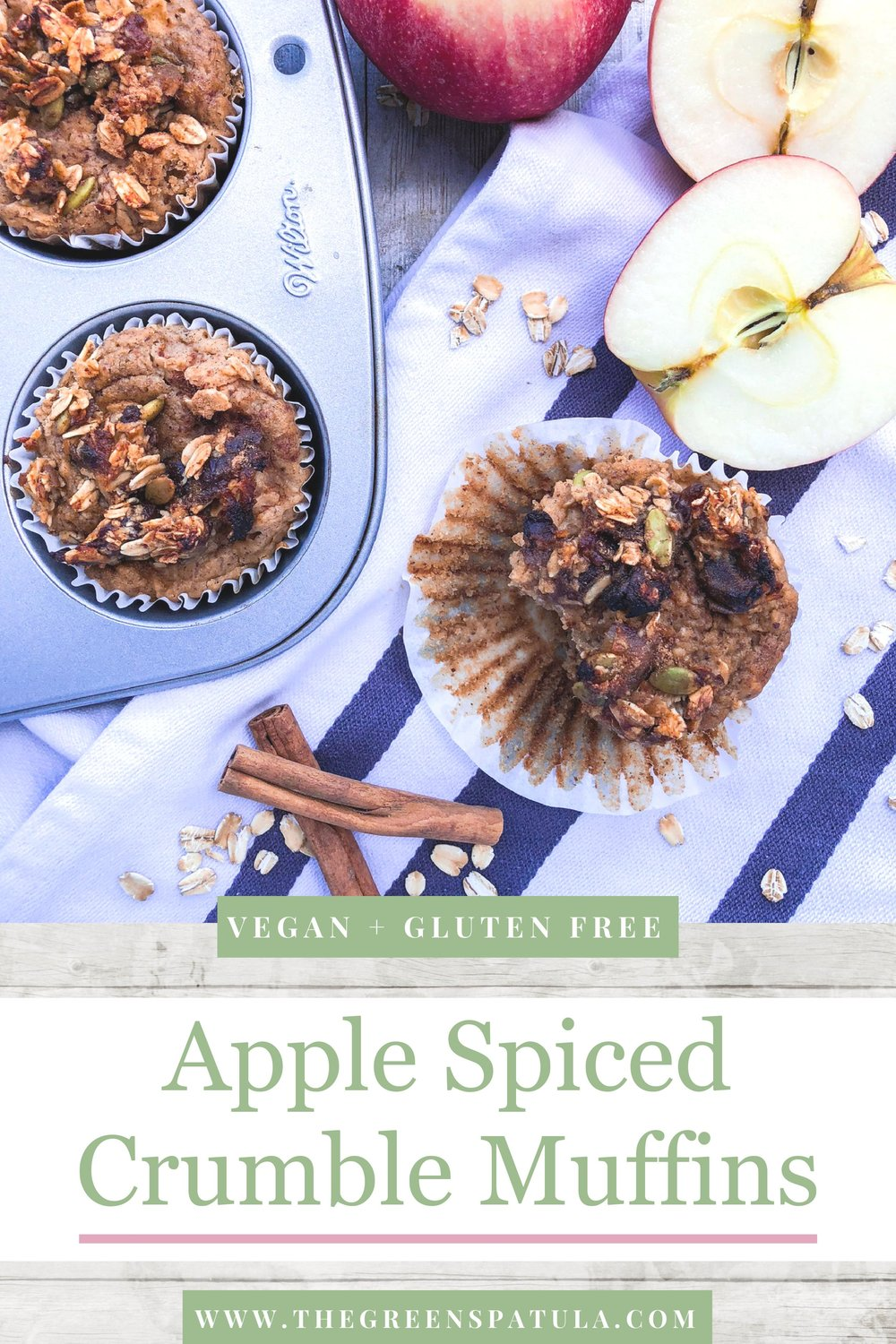 These Apple Spiced Crumble Muffins are perfect for the fall season. They are filled with autumn flavors like crisp apples, pumpkin spice, oats, and cinnamon. These muffins are easy to make, kid friendly, and delicious! Great for any bake sale, Thanksgiving Dinner, or even a quick and easy breakfast. Using all real and natural ingredients, these muffins are oil-free, vegan, gluten free, and refined sugar free. #vegan #falldesserts #cleaneating #oilfree #glutenfree #healthydessert #pumpkinspice #applepicking