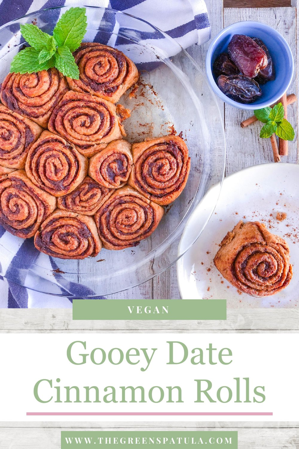 Gooey Date Cinnamon Rolls - A childhood classic with a twist! Using dates lowers the sugar levels without sacrificing flavor or satisfaction. Get ready to indulge without any guilt! Perfect for a Sunday brunch, weekday treat, or Christmas morning. Basically, these are good whenever the craving for some soft and delicious cinnamon rolls strikes! #healthybaking #vegan #plantbased #realfood #cleaneating #healthy #cinnamonrolls #brunch