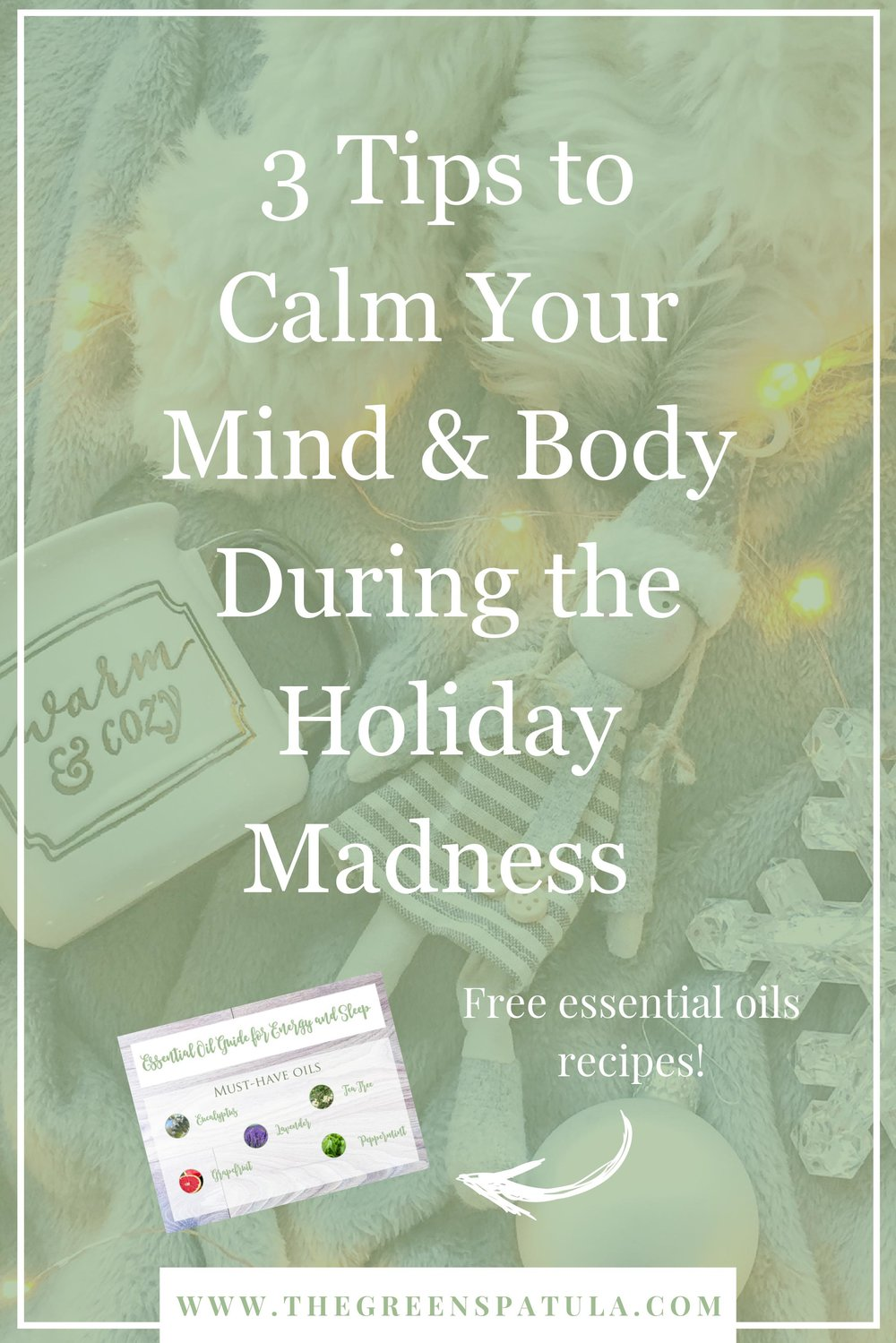 3 tips to calm your mind and body during the holiday madness. Stress less with these 3 simple self care tips to help you stay relax during traveling, gift shopping, tree decorating, too much family time, and cooking. Plus, learn about 5 different oils that can help you relax and download a free essential oil recipe card! #naturalbeauty #selfcare #stress #yoga #mindfulness #essentialoils #holistichealth