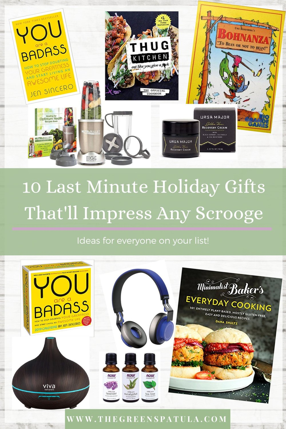 10 LAST minute holiday gifts that'll impress any Scrooge - If you're stuck and have no idea what to get the people in your life for the holidays check out this gift guide. It's got everything from books and skincare to kitchen gadgets and board games. It has ideas for everyone on your list! 10 gifts that people will actually use and enjoy. Want to know the best part? You can get these delivered to your house in just 2 days (thanks Amazon) and totally avoid the holiday crowds at the mall. That sounds like a dream! #giftguide #christmas #wellness #vegan #plantbased #vegan #health