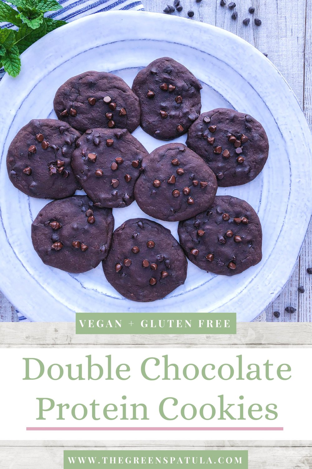 Double Chocolate Protein Cookies: these babies are insane! They're made with minimal ingredients and are vegan, sugar-free, oil-free, and gluten-free. The ripe banana and the stevia from the Sunwarrior protein powder (use code thegreenspatula15 for 15% off) give these cookies just the right amount of sweetness. #plantbased #mealprep #protein #cleaneating #healthydessert #dessert #vegan #oilfree #glutenfree #breakfast