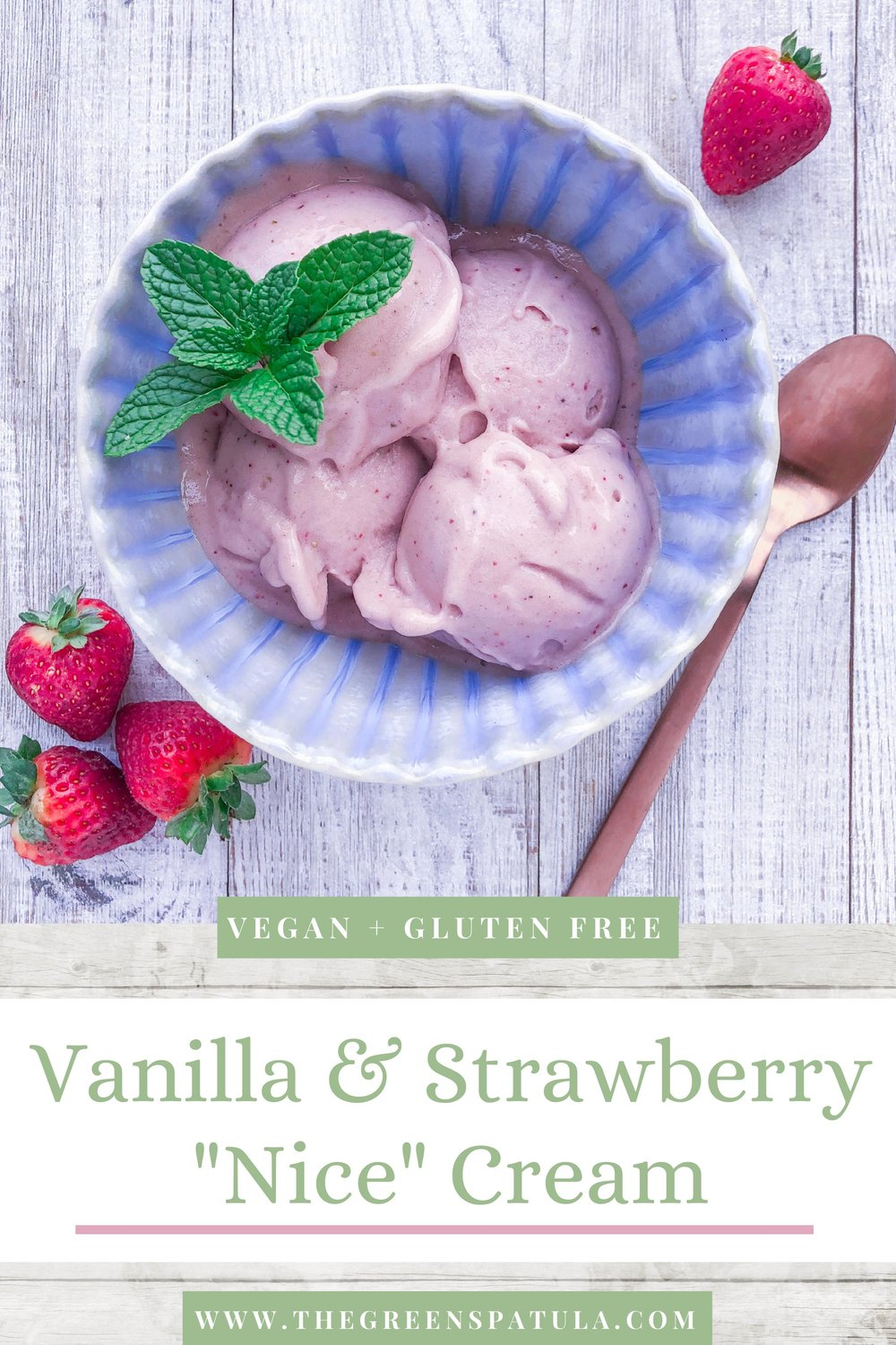 """Vanilla & Strawberry Nice Cream: This vegan ice cream is made in under 10 minutes (no need for an ice cream maker), sugar-free, and absolutely delicious. Not the biggest fan of banana? Once you add your """"flavors"""" like other frozen fruit or protein powder, the banana taste will minimize. Easily customize this recipe to create your favorite ice cream flavors. #plantbased #mealprep #protein #cleaneating #healthydessert #dessert #vegan #oilfree #glutenfree #breakfast #icecream #nicecream"""