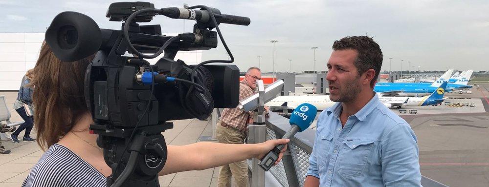 Interview op Schiphol voor Telegraaf Vandaag.