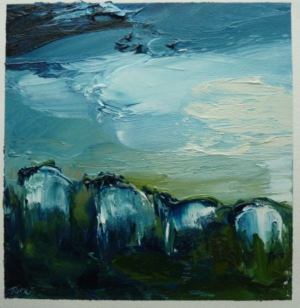 Mountain Flock walking along the track. oil on paper18x18cm.JPG (002).jpg