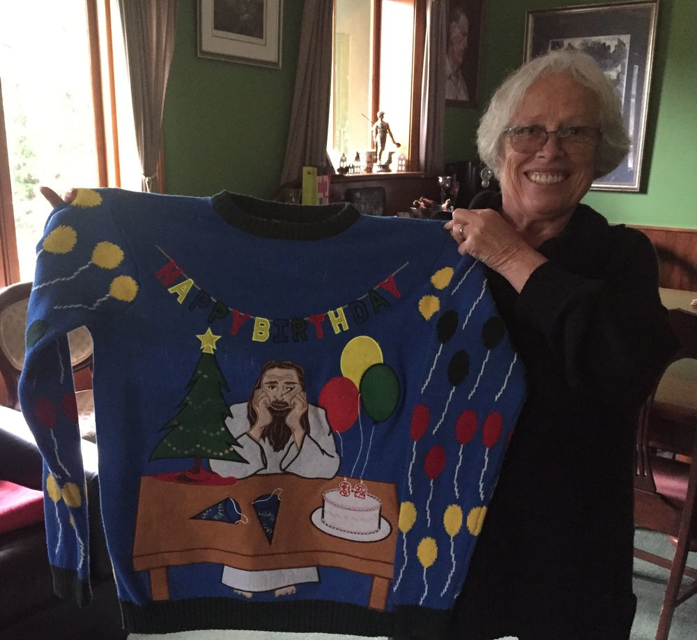 Monique at her home in Katoomba, showing me a birthday present jumper