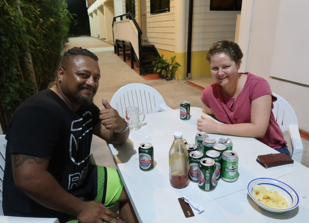 Drinks with the flight crew! Chris the engineer from the flight and Claudia the pilot! She's been working at Solomon Airlines for seven years- her first and only job, but she's joined the family business, as her dad was a pilot too and she grew up in Fiji.