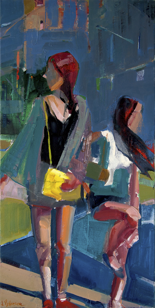 "Shopping Day  , 2016 Oil on canvas 24"" x 12"""