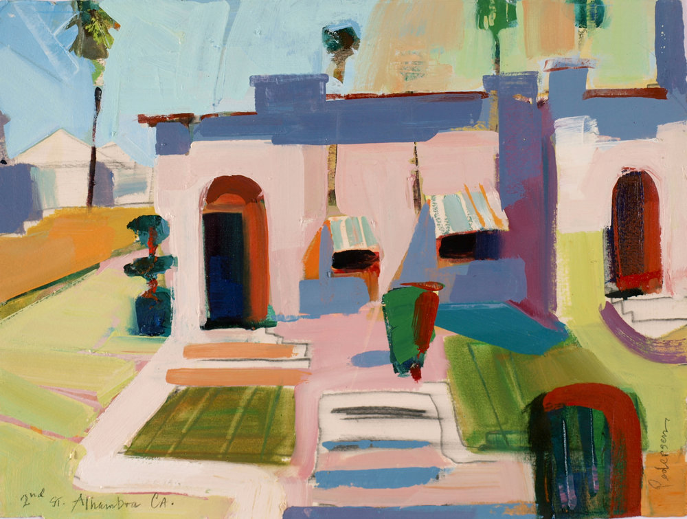 "Alhambra, CA  , 2015 Oil on paper 11"" x 15"""