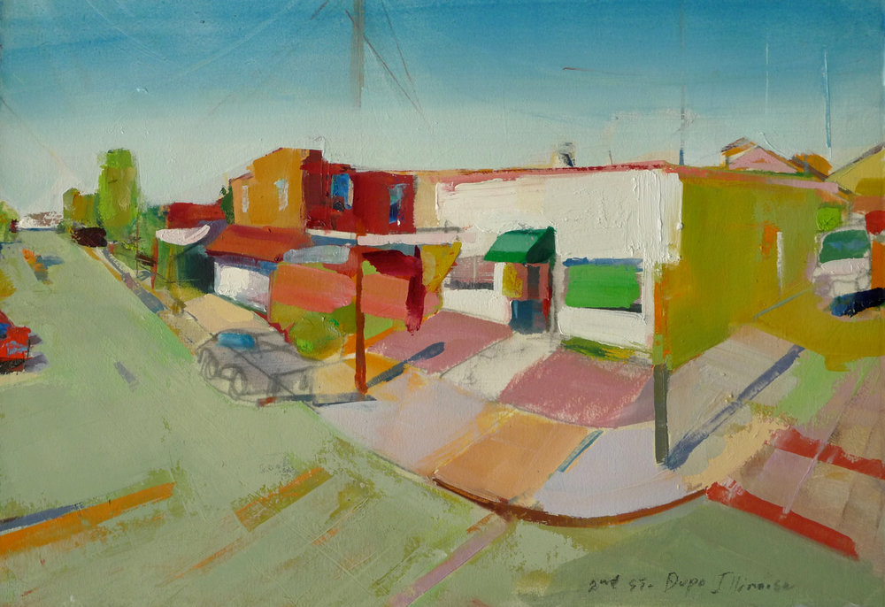 "Dupo, IL  , 2015 Oil on paper 11"" x 15"""