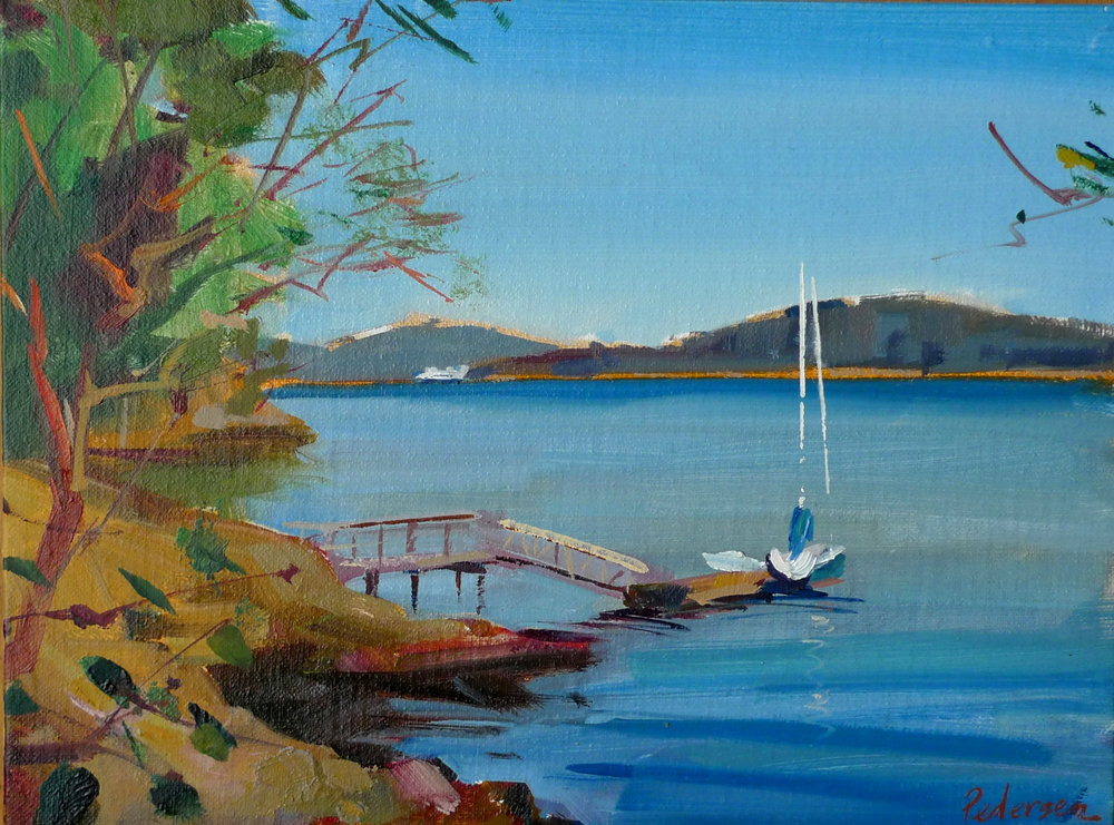"Ferry Coming  , 2015 Oil  9"" x 12"" (sold)"