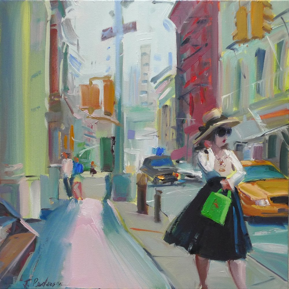 "Shopping Soho, 2013 Oil 20"" x 20"" (sold)"