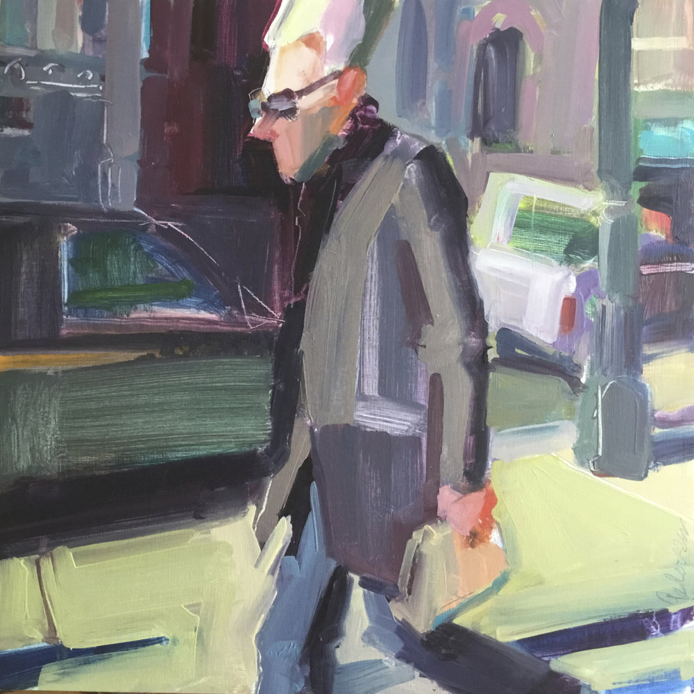 """Another Monday   2018 Oil on cradleboard. 12"""" x12"""""""