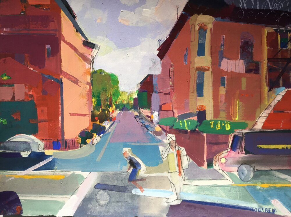 "Brooklyn, NY  , 2017   Acrylic gouache on paper 11"" x 15"""