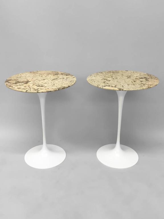 Pair Of Custom Stone Top Iron Base Saarinen Knoll Tulip Tables