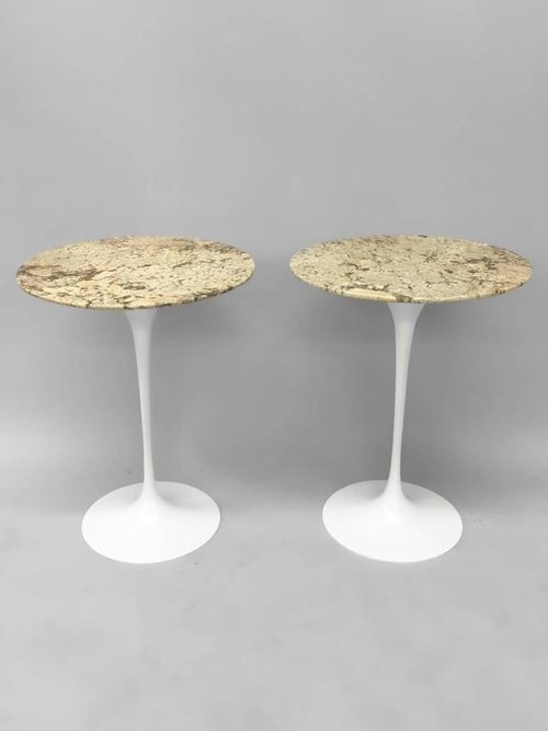 Pair Of Custom Stone Top Iron Base Saarinen Knoll Tulip Tables TOM - Custom tulip table