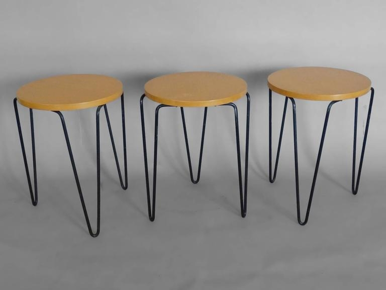 EXPLORE SEATING:  Florence Knoll Nesting Stools with Wrought Iron Bases