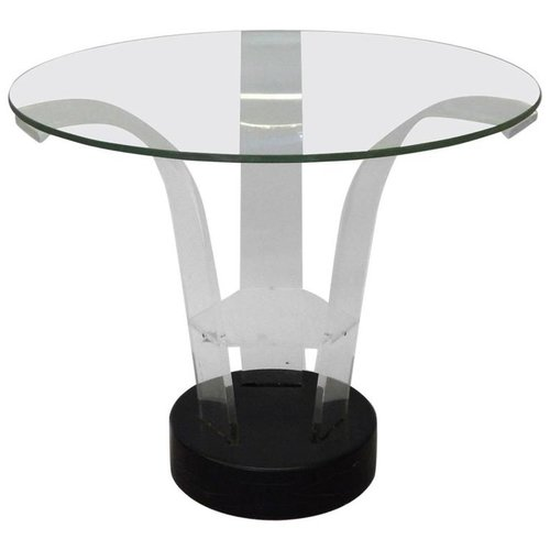 Lucite With Glass Top Art Deco Side Table Tom Gibbs Studio