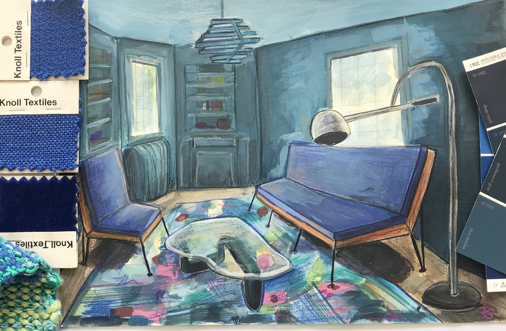 'The Blue Room' sketch study by Paula Schubatis