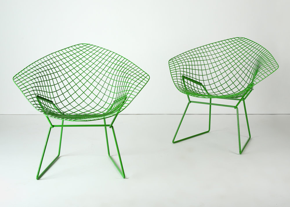 Pair Custom Green Powder Coated Harry Bertoia Diamond Chairs For Knoll