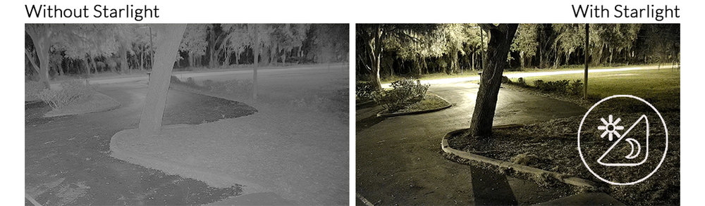 Whereas traditional surveillance cameras quickly switch to black & white mode as the sun goes down, Visualint's Super Starlight color sensor records bright, vivid pictures all the way down to 0.01 lux. Because the sensor in this PTZ camera is larger than others, it can capture more light over time. This enables daylight-level image brightness and clarity well into the night, and provides light levels that are out of this world