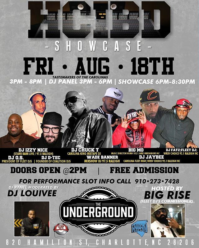 Friday Aug 18th! @fleetdjs presents the HOW CAN I BE DOWN? Talent Showcase at The Underground •  If you're serious about being an artist in the entertainment industry, then you should be serious about contacting us today to reserve your performance slot!  910.273.7428  #queencity #charlotte #northcarolina #howcanibedown #hcibd #hcibdthelegacy