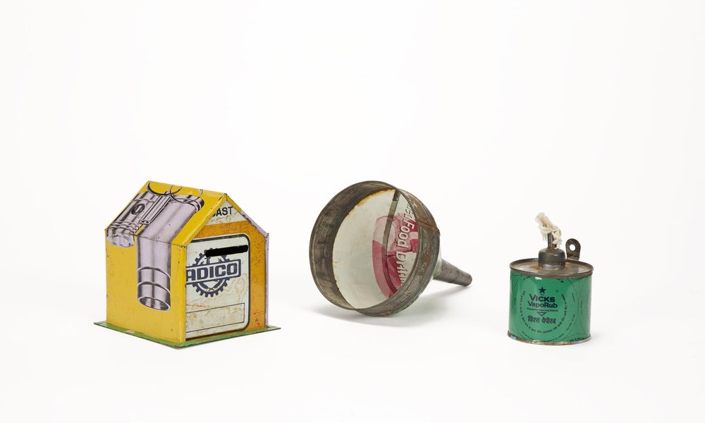 Money box, funnel & kerosene lamp made from misprinted tin