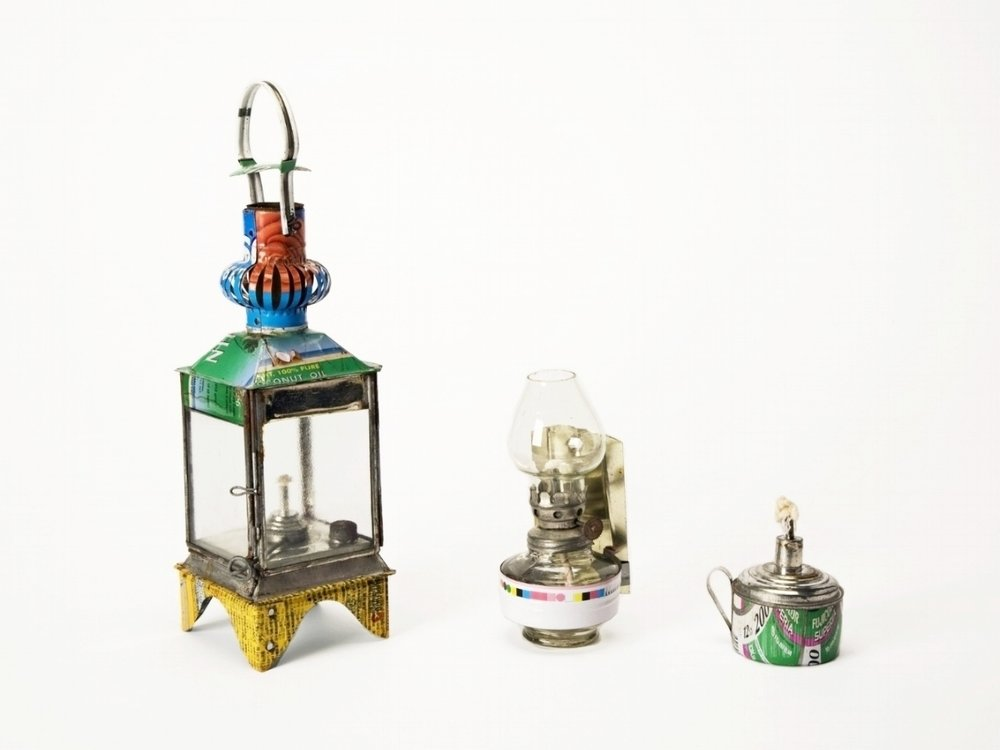 Kerosene lamps made from misprinted tin