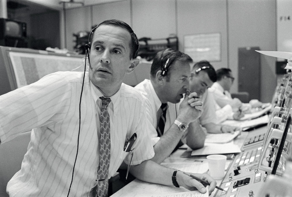 Duke, Lovell, and Haise at the Apollo 11 Capcom, Johnson Space Center, Houston, Texas
