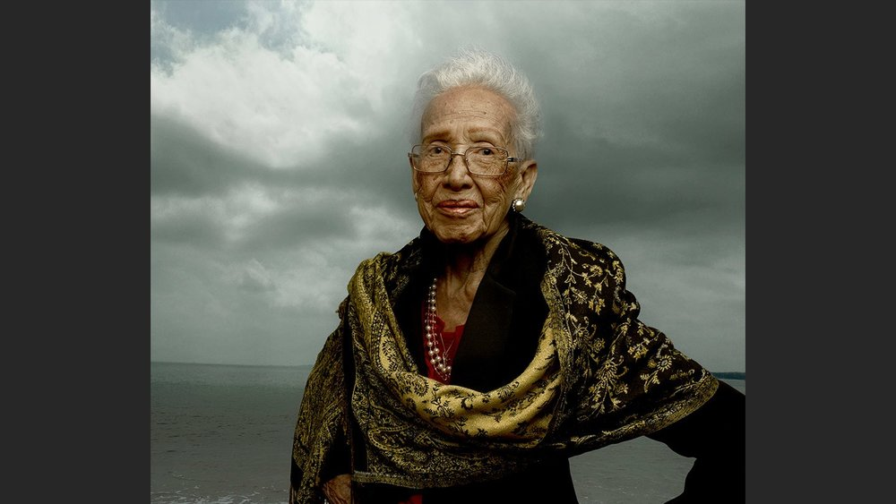 Katherine Johnson, an astrophysicist, space scientist and mathematician calculated the flight path for the first American space mission. Photographed by Annie Leibowitz for Vanity Fair Magazine