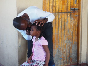 One of the local children having her eye exam done.