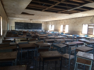 One of the empty classes at the secondary school