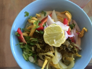 Khao Soi, a traditional northern thai dish sold at Free Bird Café