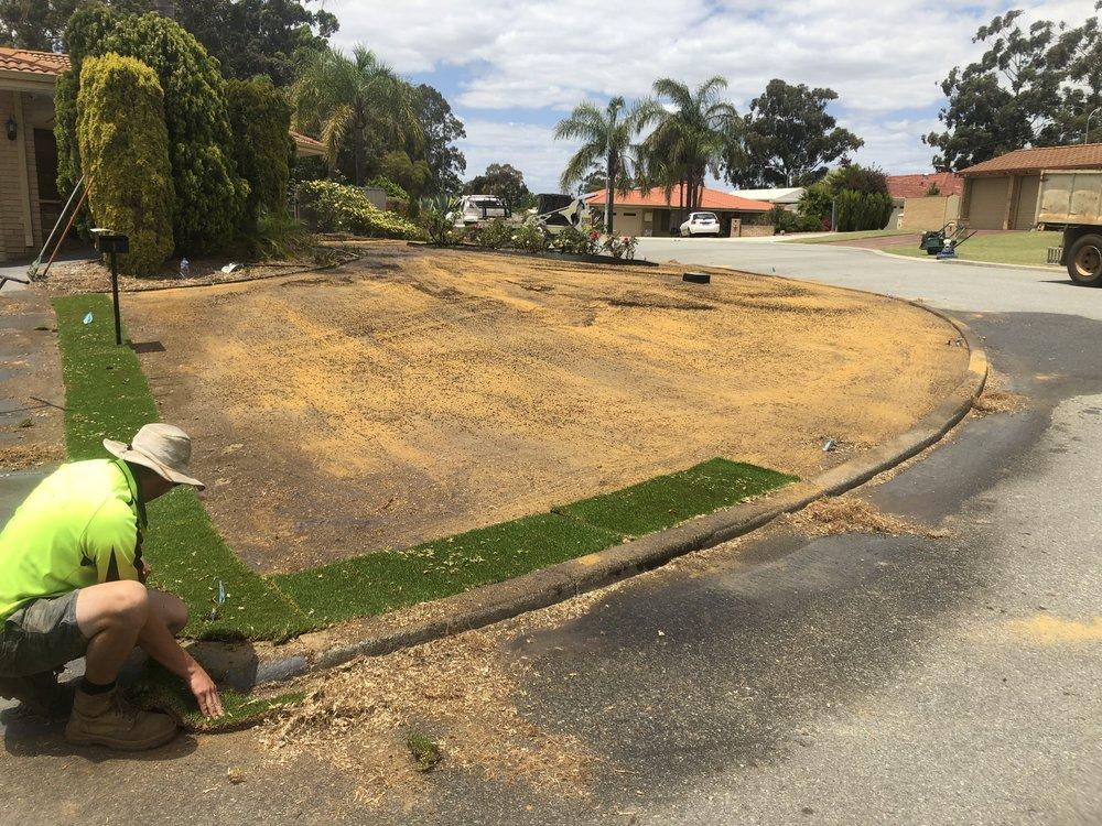 Kikuyu lawn being Installed