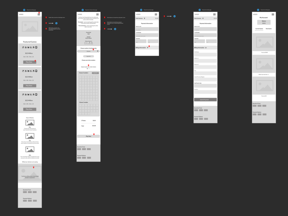 Wireframes for the responsive layout. In the end I decided to allow the user to swipe left and right to view the featured games.