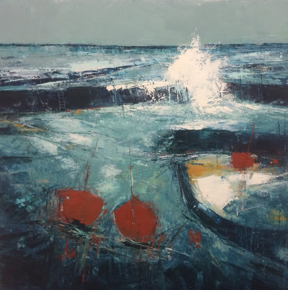Jan Shand Safe Harbour 2 80cm x 80cm oil and cold wax  on board £1,200 dbl framed signed on back .jpg