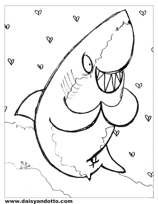 Daisy and Otto Ocean Animal Printable COloring Page