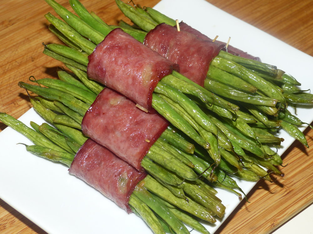 Turkey Bacon Wrapped Green Beans -