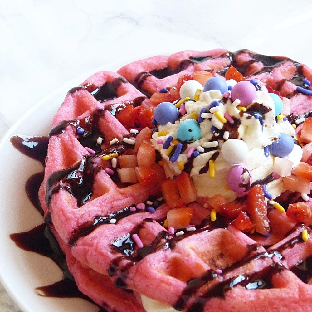 Pink Velvet Cheesecake Stuffed Waffles -