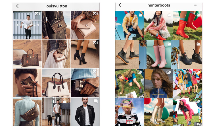 Louis Vuitton uses their campaigns to dictate their theme, which allows them to have a cohesive flow throughout the seasons. Hunter focuses on showcasing their hero products: boots which is what this brand is so well known for.