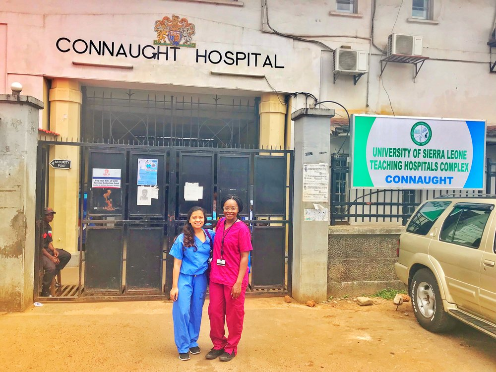 June 2018: Me and my friend Reshma at the main government hospital in Freetown, Sierra Leone