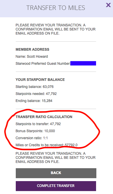 SPG Point Transfer - I still needed 57,792 AA points to book my tickets. Chase points don't transfer to AA (and I needed them for my return ticket with Singapore Air) so SPG points it is! SPG gives you 5k bonus points for every 20k points transferred. I transferred 47,792, which gave me 10k bonus points, allowing me to hit my 57,792 needed points.Pay attention to the details such as one transfer in a 24-hour period. If you calculated your points wrong you may not have enough to book and could risk a flight going off hold or not being available.