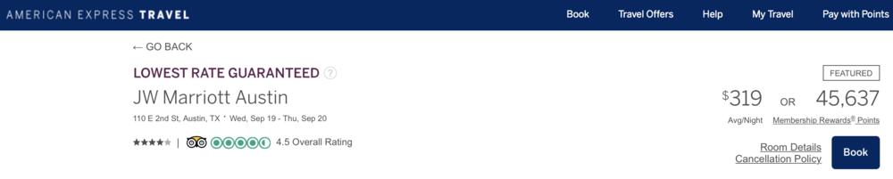 AMEX Portal: 3 nights x 45.6k points = 136.9k AMEX Membership Rewards points required